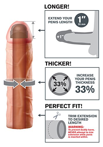 Fantasy X-Tensions by Pipedream PD4110-21 Perfect 1 inch Penis Extension - Penis Sleeve / Penismanschette - 17,7 cm lang - Außen-Durchmesser: 4,4 cm - skin -