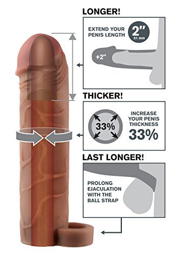 Fantasy X-Tensions by Pipedream PD4117-29 Perfect 2 inch Penis Extension - Penis Sleeve / Penismanschette mit Hodenring - 19 cm lang - Außen-Durchmesser: 4,4 cm - braun -