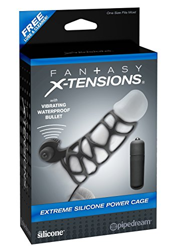Fantasy X-Tensions by Pipedream PD4143-23 Extreme Silicone Power Cock Cage - mit Vibration - Penishülle - 12 cm lang - Innen-Durchmesser: 3,8 cm - schwarz -