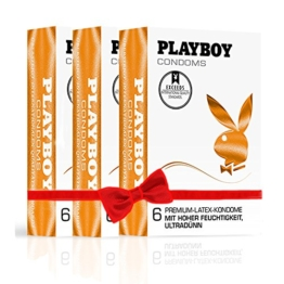 PLAYBOY CONDOMS -Ultradünn 3x 6er Pack orange Premium Latex Kondome Mit hoher Feuchtigkeit -
